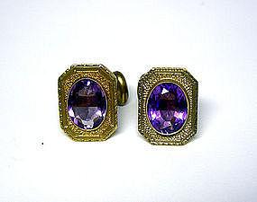Victorian Gold And Amethyst Cufflinks