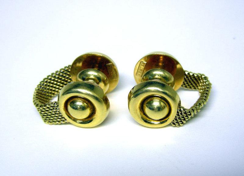 Vintage 18k Gold Mesh Cufflinks By Meister