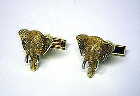 Vintage Gold And Diamond Elephant  cufflinks