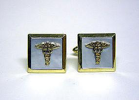 Vintage Mop And Gold Plate Caduceus Symbol Cufflinks