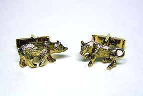 """Vintage Gold Plated """"Bull And Bear""""  Cufflinks"""