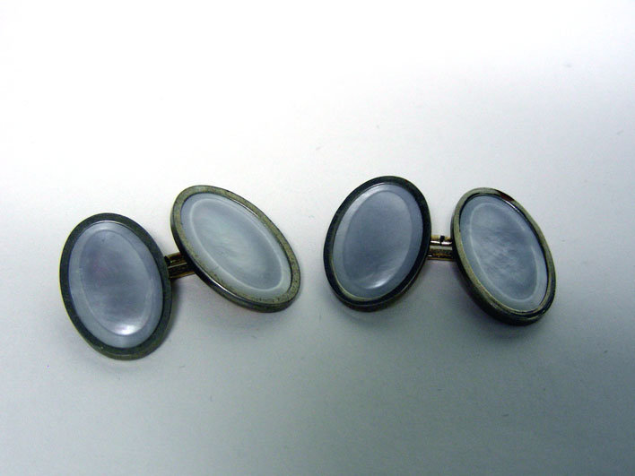 Mother Of Pearl And Gold Plate  cufflinks