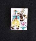 Vintage Dutch folklore ceramic brooch, signed Frode