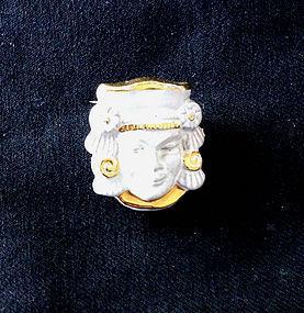 Vintage Maya motif ceramic pin, Swedish, signed