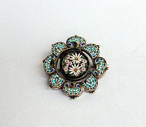 Italian micro mosaic brooch, 19th century