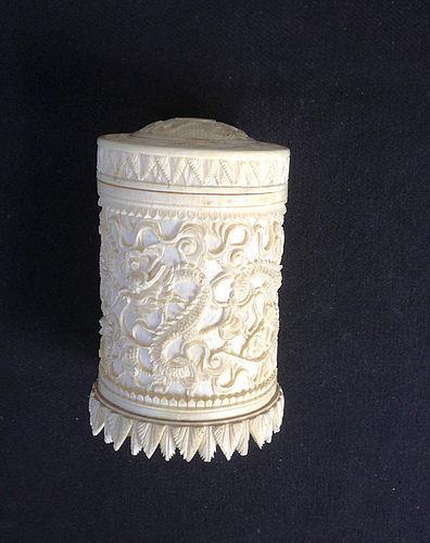 Cylindrical ivory box, China c 1900