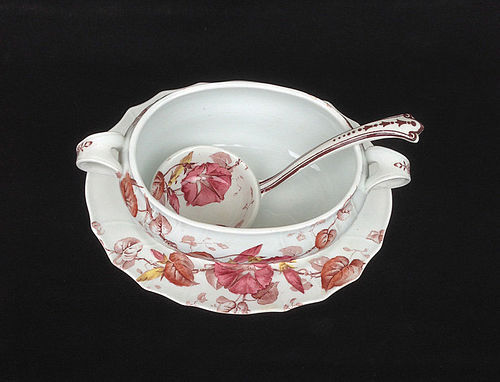 Staffordshire sauce bowl & ladle, the Morning Glory pattern, Victorian