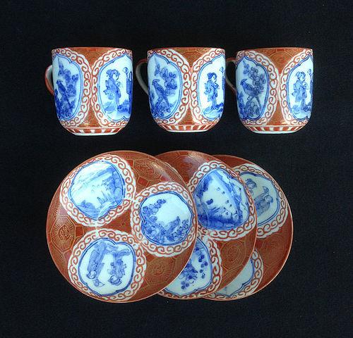 Three Kutani egg-shell cups and saucers, Hirado c 1900