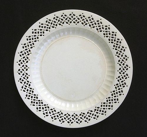 Leeds creamware pierced plate, 18th century
