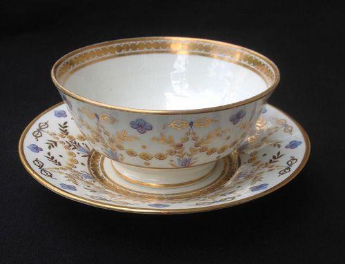 English waste bowl and cake plate, Georgian, c 1820