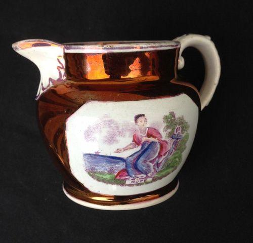 Sunderland lustre: Hope milk jug, England c 1830