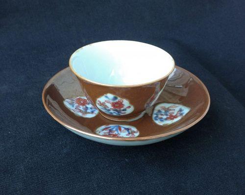 Batavia brown and Imari cup and saucer, 18th century