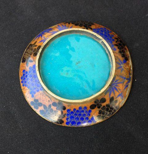 Japanese cloisonné enamel small dish, Meiji