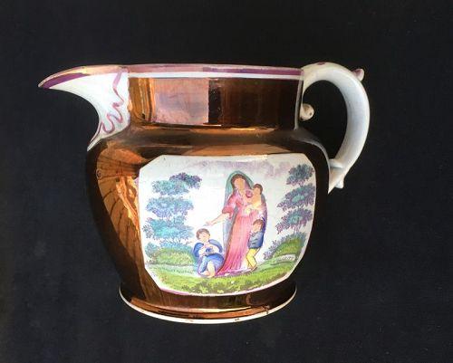 Sunderland lustre: large Charity jug or pitcher, England c 1830