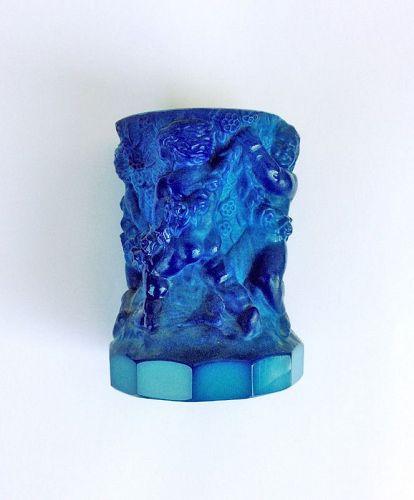 Czech Schlevogt blue lapis Ingrid vase with cherubs, c 1935