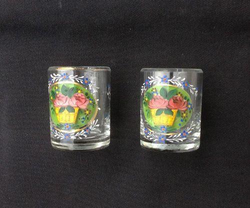Pair of enameled dram tumblers /whiskey glasses, Bohemian