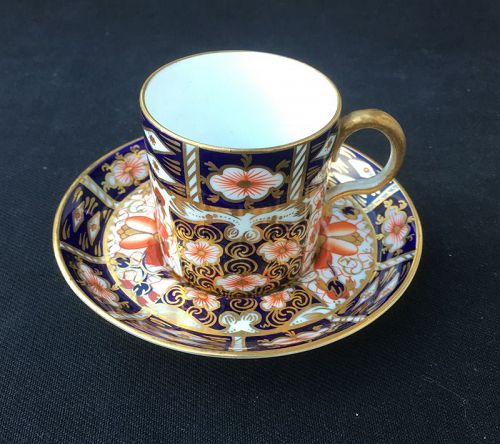 Royal Crown Derby Imari: a demitasse coffee can and saucer