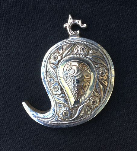 Ottoman silver belt buckle, Teardrop / Paisley shape, possible pendant