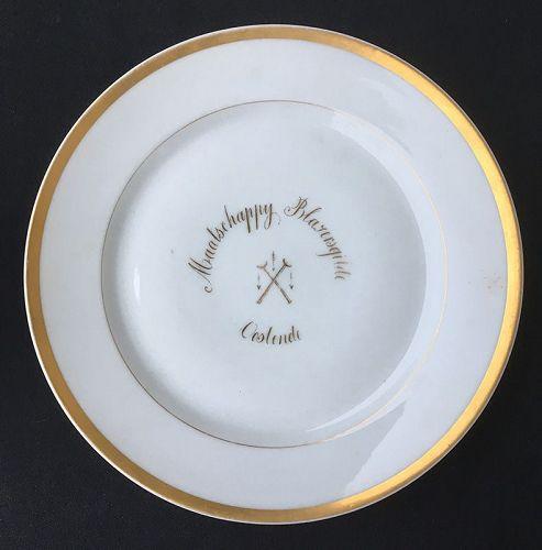Vieux Bruxelles porcelain plate for a Flemish Blowpipe Association