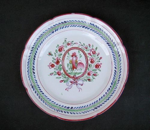 French faience plate, flower wreath and coquerel, St Clement?