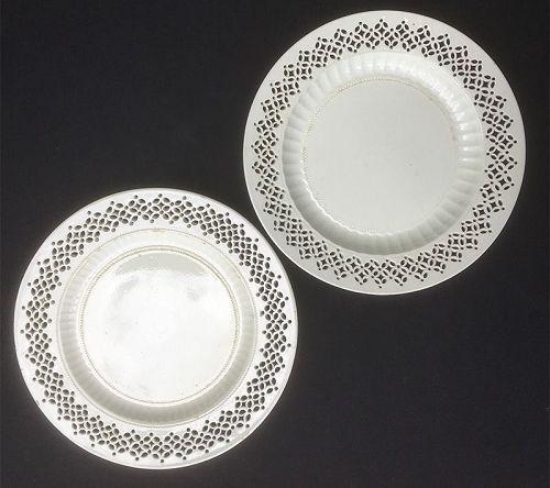 Pair of creamware pierced plates, Staffordshire c 1790, by Whitehead?