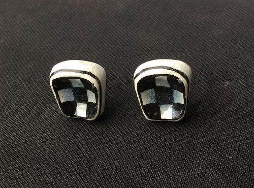 Op art ceramic clip on earrings, c 1960