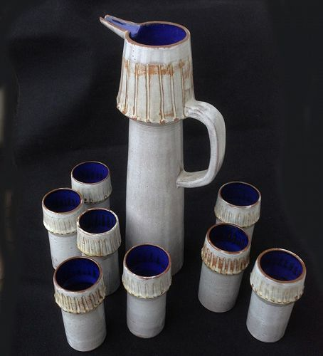Les Argonautes, Vallauris: pitcher and beakers, c 1960