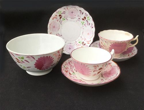 Allerton, Staffordshire: pink luster Dahlia cups & saucers & slop bowl