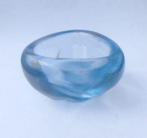 Barbini Murano 1950�s iridescent Aqua Marine blue bowl