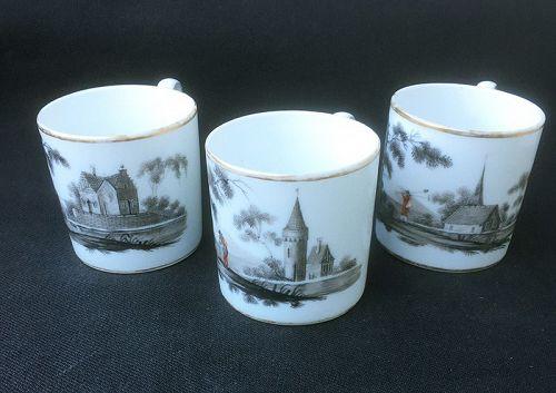 Grisaille decorated coffee cans, Paris Porcelain or Vieux Bruxelles