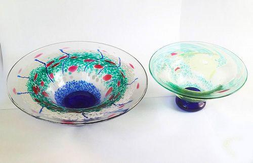 Swedish studio glass: footed bowls by Asa / �sa Brandt
