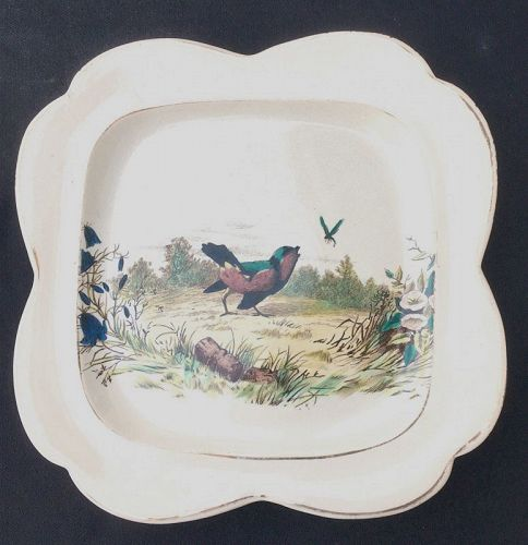 .Dragonfly and bird: Aesthetic era dish: Eugène Millet for Vieillard