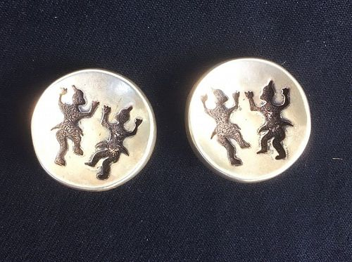Brutalist earrings from Scooter of Paris, c 1980