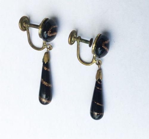 Aventurine glass swirl earrings, Bohemian, c 1900
