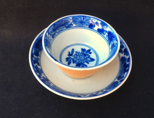 Café-au-lait glazed blue and white cup and saucer, Yongzheng