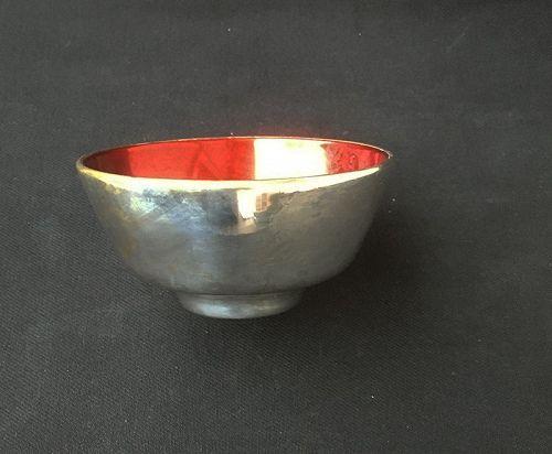 Henning Koppel, Denmark: 1950's silver plate and enamel bowl