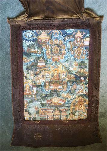 Tibetan or Nepalese Buddhistic Thangka / Tangka