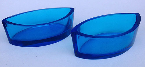 Pair of Scandinavian blue glass salts