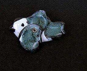 Vintage Pied fly catcher ceramic pin