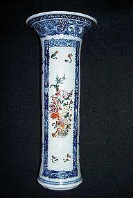 Chinese blue and white, enameled trumpet vase