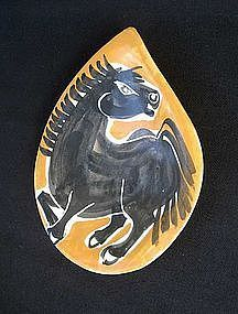 French 50's Provencal horse decorated dish