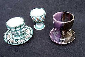 Three 1950's egg cups, Vallauris