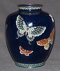 Hayashi Style Japanese Cloisonne Enamel Vase Butterflies