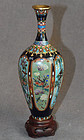 Excellent 6-Panel Japanese Cloisonne Enamel vase by Ota