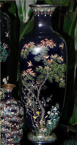 Large Japanese Cloisonne Enamel Vase - Signed