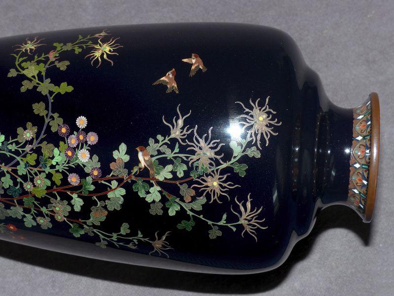 Very Fine Japanese Cloisonne vase w Gold Wire Birds - Unsigned Hayashi