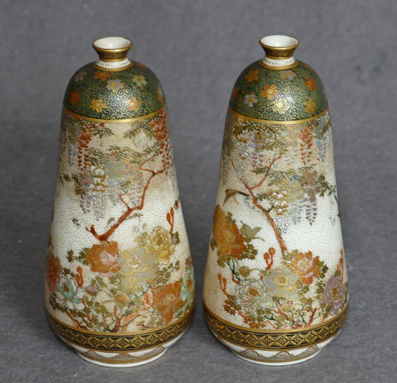 Very Fine Pair Japanese Satsuma Vases with Original Box and Signed