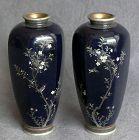 Fine Hayashi Style Pair of Japanese Cloisonne Enamel Vases