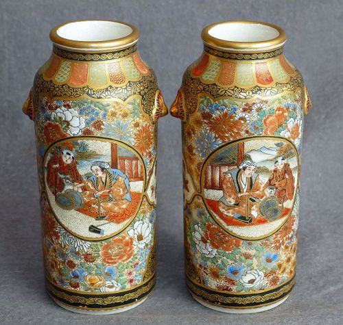 Beautiful Pair Japanese Satsuma Vases Signed Kizan - Mint Condition