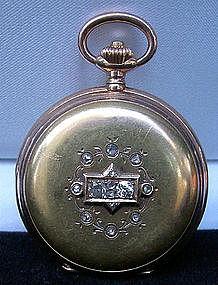 Swiss HUMBERT-RAMUZ 18K Pocket Watch